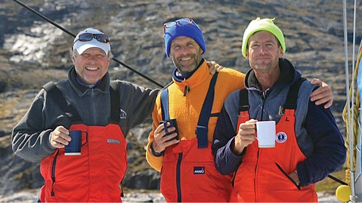 (From left) Skipper John Barry, Matthew Church and the author. Photo courtesy of John Spier