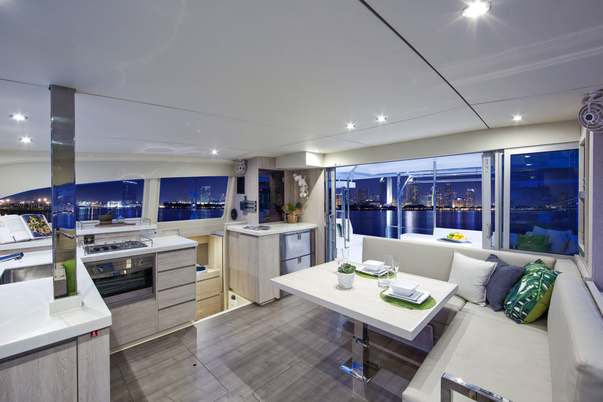 The luxurious saloon belies the boat's impressive performance under sail