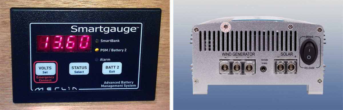 A battery management system helps the skipper monitor power levels (left); a dual charge control for both wind and solar power (right)