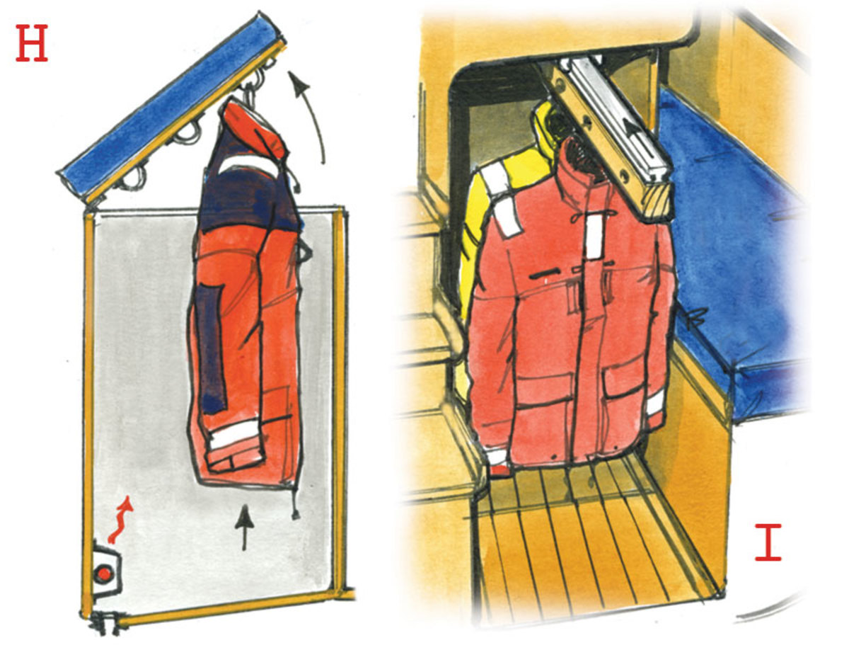 H. This locker is built under a seat in a wheelhouse; as you lift the seat, the foulies are raised up into view. It drains on both tacks and has a small heater protected by a stainless steel grill. Some fabrics don't like too much heat, but blown warm air seems to work well. I. This long rail pulls out on a strong track and foul-weather gear can be hung on coat-hangers threaded through holes. A few extra hooks are used for life jackets, harnesses and net bags for gloves, etc. It slides back into a vented space, which is warmed by the engine and drains into the bilge. It makes good use of that awkward space beside the quarterberth.