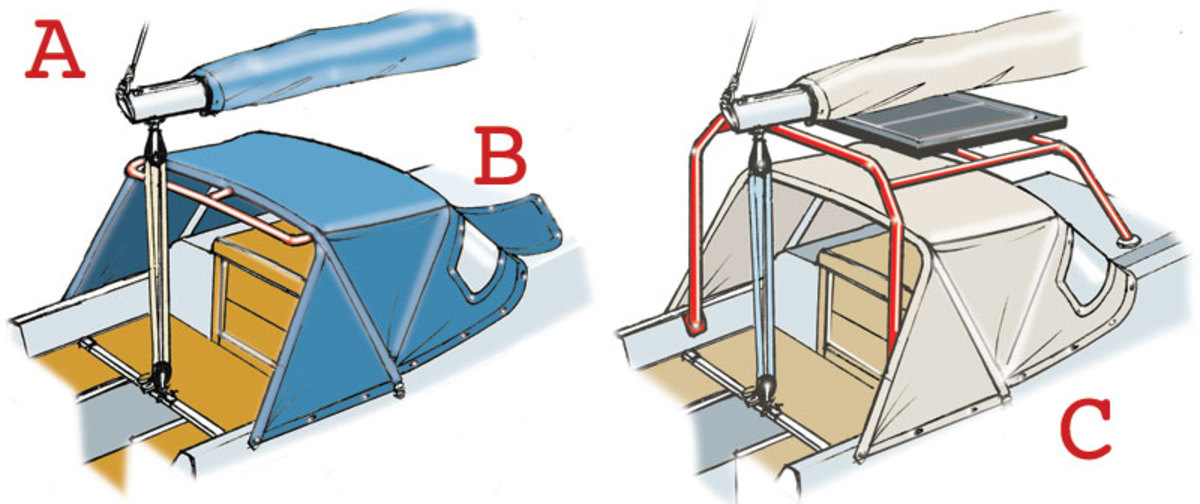 A If the framework of a folding sprayhood is strong enough, it is sometimes possible to add a grab rail across the back. But take care when using it if the mainsheet runs close by. B When your boat is on the mooring, covers over the flexible windows protect them from ultraviolet light damage. C Some boats have a large fixed framework over the folding sprayhood. This creates a good set of grab bars to hang onto in the cockpit, or when moving up on to the side decks. It's also a handy place to mount a solar panel, lash down the boom or secure the front edge of a cockpit awning.