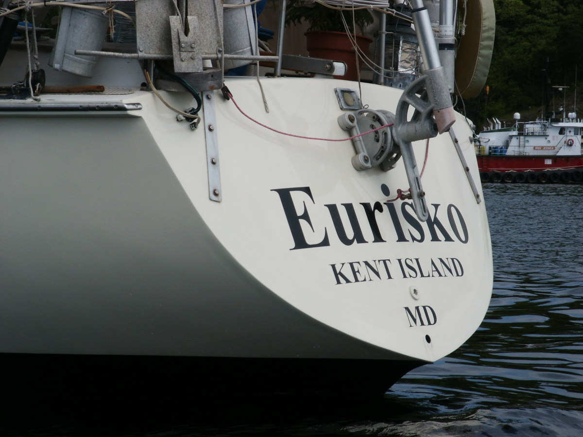 With the work done, Eurisko's transom is back to her original glory
