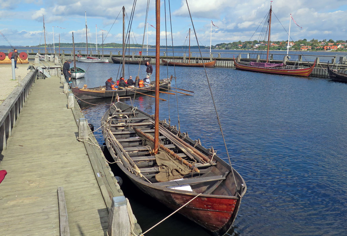 The harbor at Denmark's Viking Ship Museum is packed with historical craft