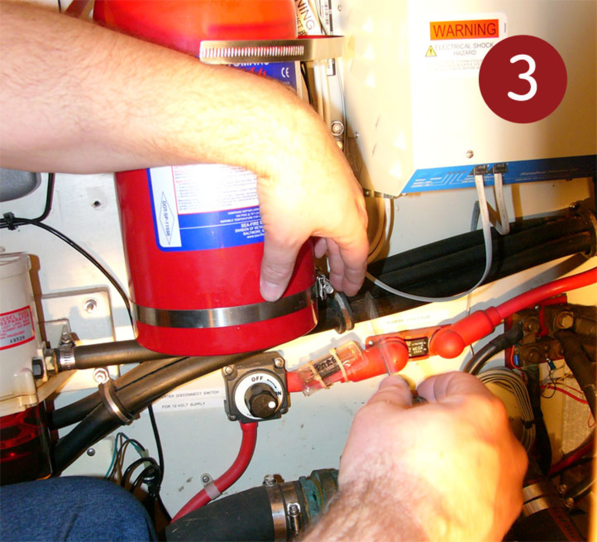 How To Installing A Fire Suppression System Sail Magazine Electrical Wiring Fires You May Not Be So Lucky And Have Reroute Wires Or Hoses If They Are In The Way
