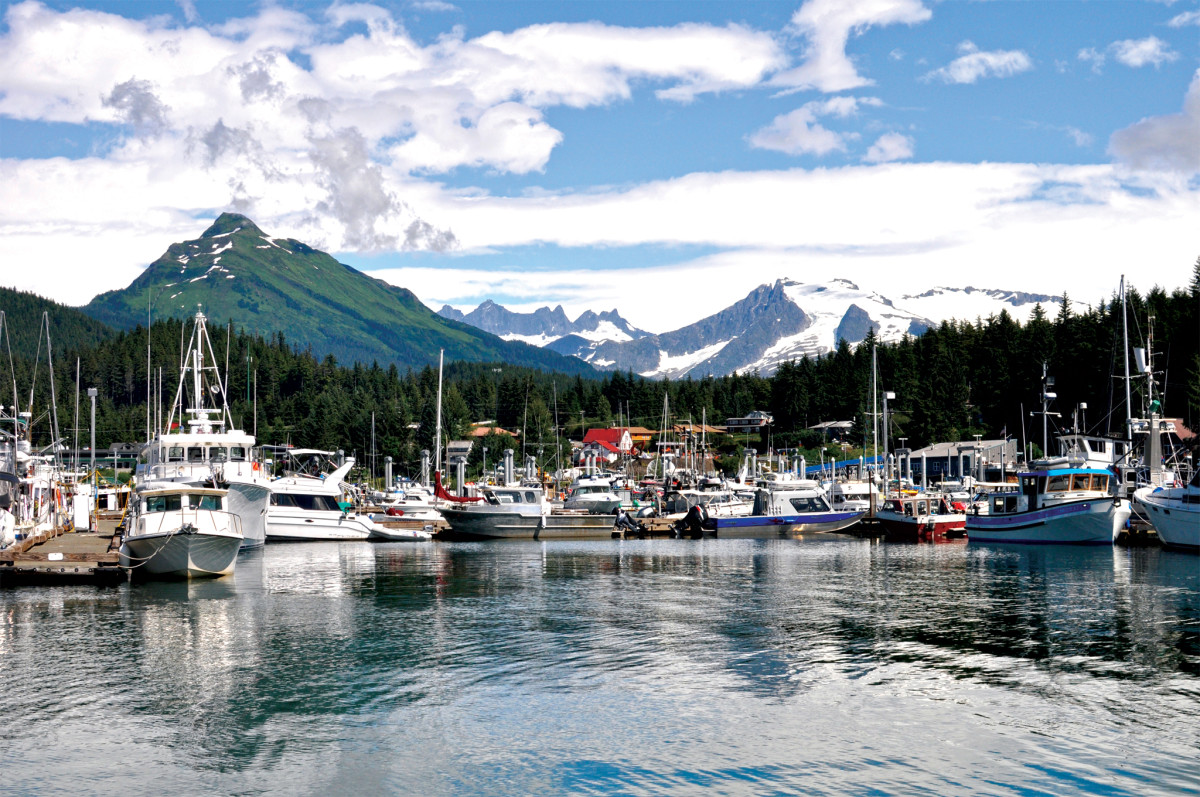 The harbor and marina in Auke Bay, a bedroom community of Juneau, Alaska