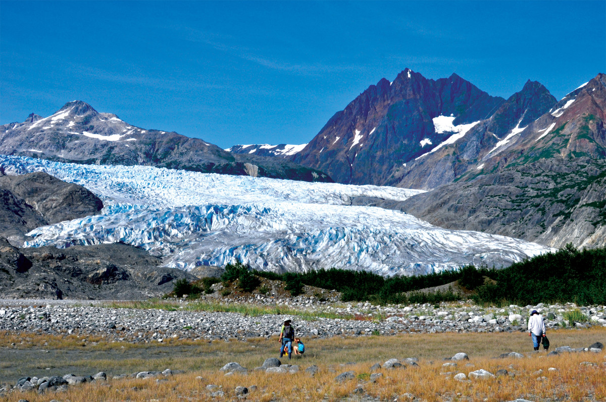 The crew hikes toward Riggs Glacier