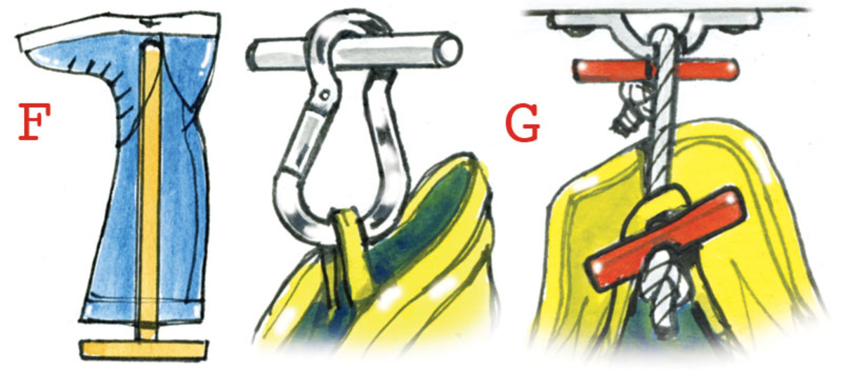 F. Boots can be stowed on wooden pole racks under wet foulies. G. If you can't fit in coat hangers, try hanging wet gear on carabiners or line toggles. H. This locker is built under a seat in a wheelhouse; as you lift the seat, the foulies are raised up into view. It drains on both tacks and has a small heater protected by a stainless steel grill. Some fabrics don't like too much heat, but blown warm air seems to work well.