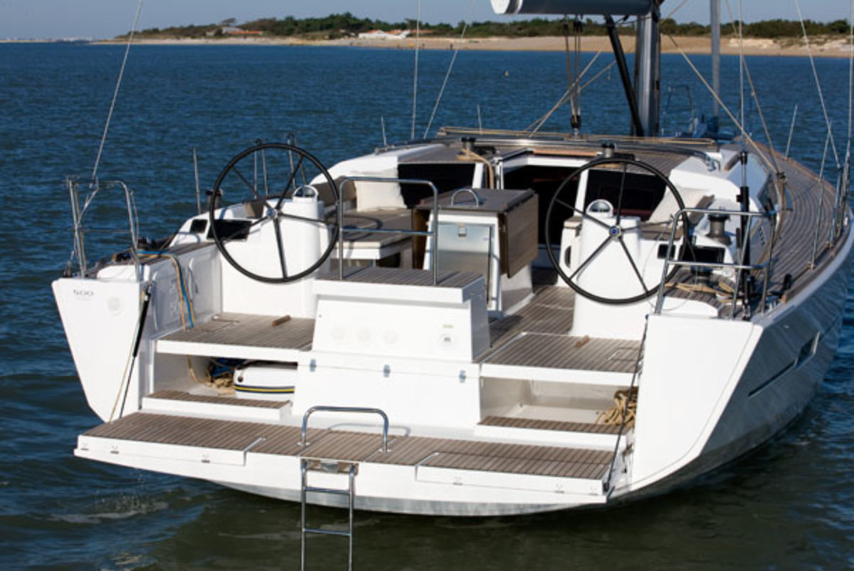 The cockpit has something for everyone, crew and guests alike: the transom seat between the helms includes a storage area and flips up to serve as a platform for an outside grill