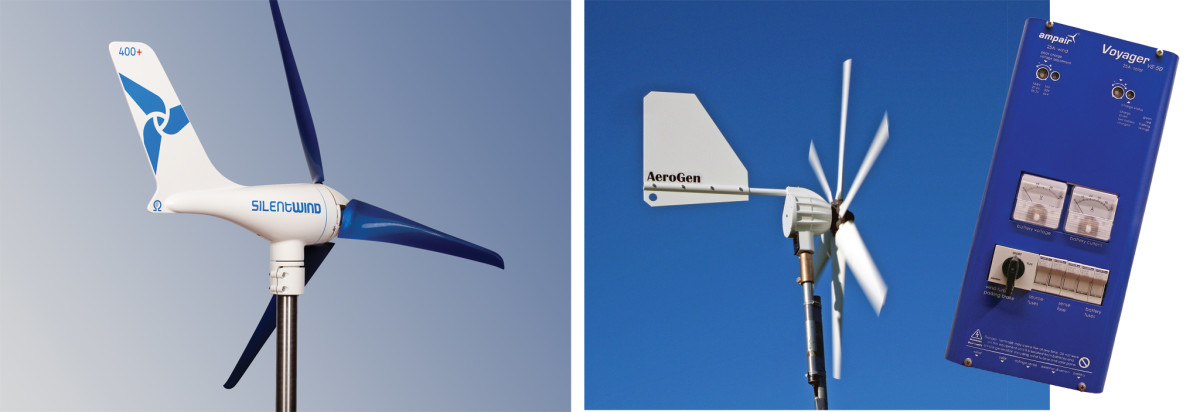 A Silentwind wind generator (left); An AeroGen wind generator and an Ampair battery monitor (inset)
