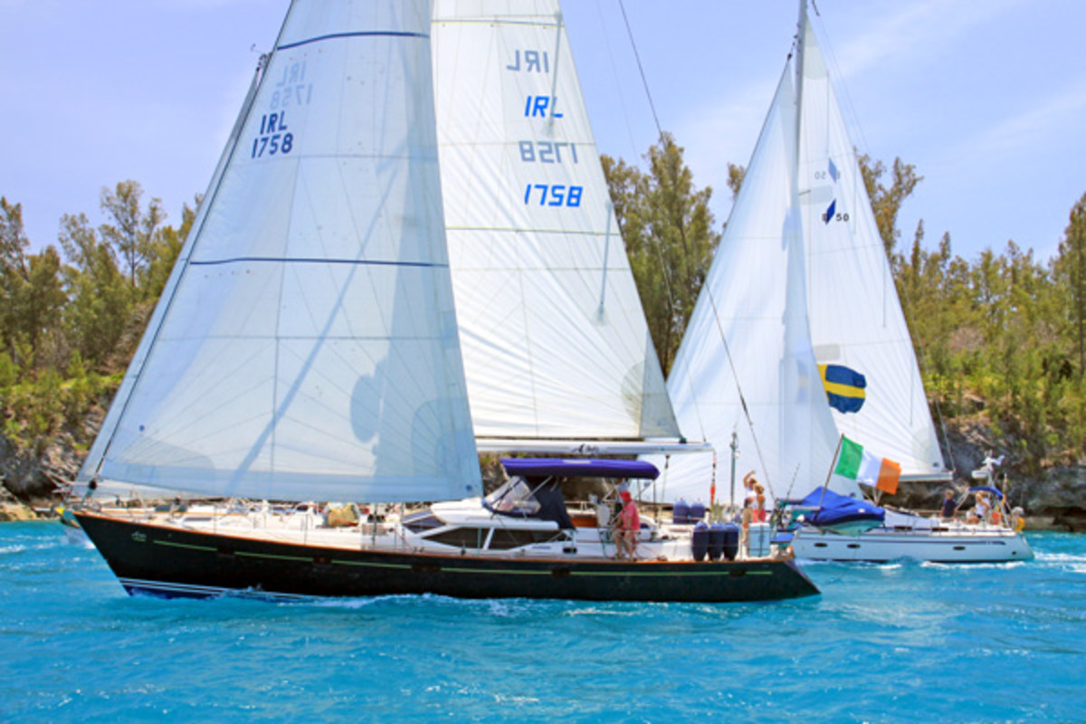 The Oyster 56 A Lady departs Bermuda in company with a Bavaria 50