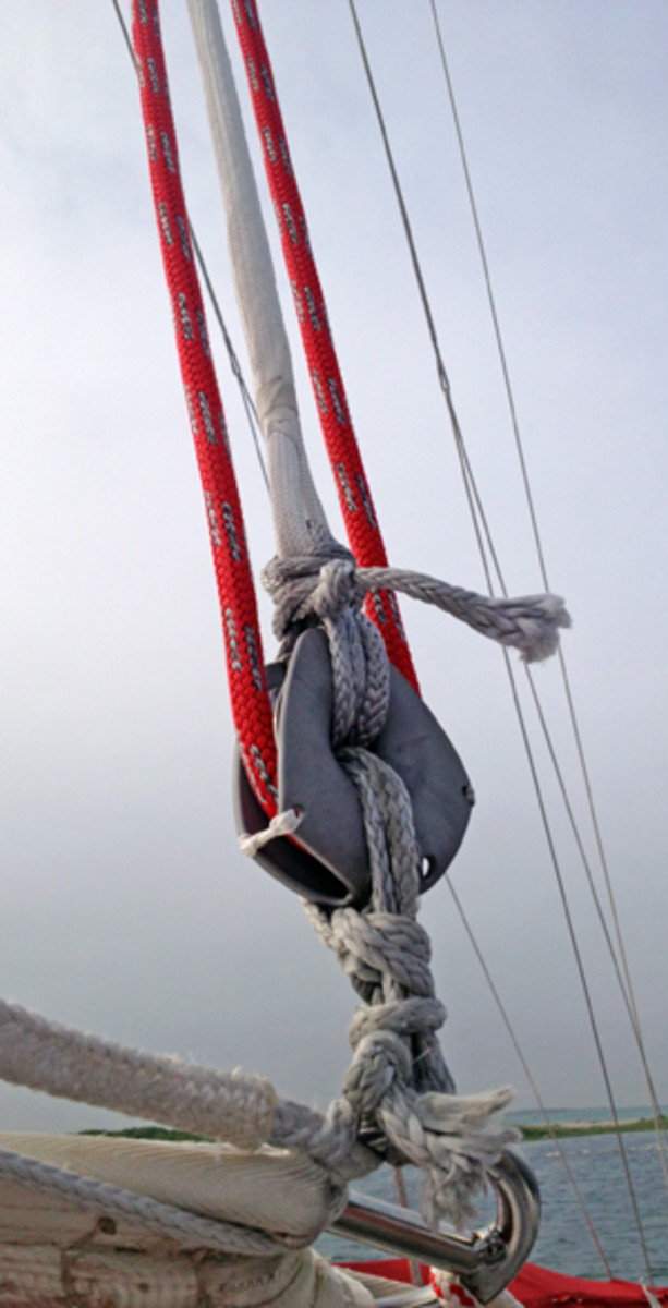 Switching from shackles to lashings will reduce weight aloft