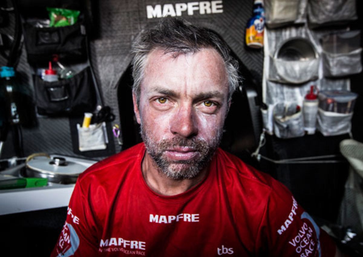 The face of the 2014-25 Volvo Ocean Race: months of sleep deprivation and 24/7 competition are clearly written on the face of Mapfre crewman Rob Greenhalgh two weeks into Leg 6. Photo courtesy of Francisco Vignale/VOR