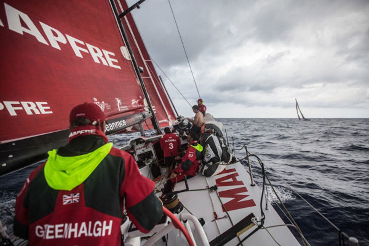 The boats are once again in almost constant contact with one another even weeks after the start: here Alvimedica is clearly visible from the deck of Mapfre. Photo courtesy of Francisco Vignale/VOR