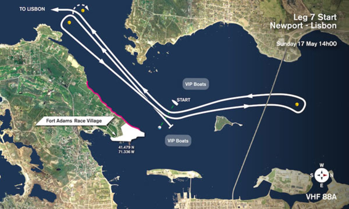 A rendering of the course the fleet will take at the beginning of Leg 7 from Newport to Lisbon, Portugal, Sunday, May 17