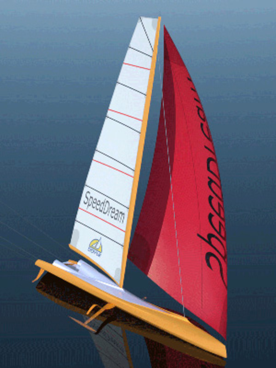 A rendering of the 100-footer Murnikov hopes will someday be the fastest sailboat of them all