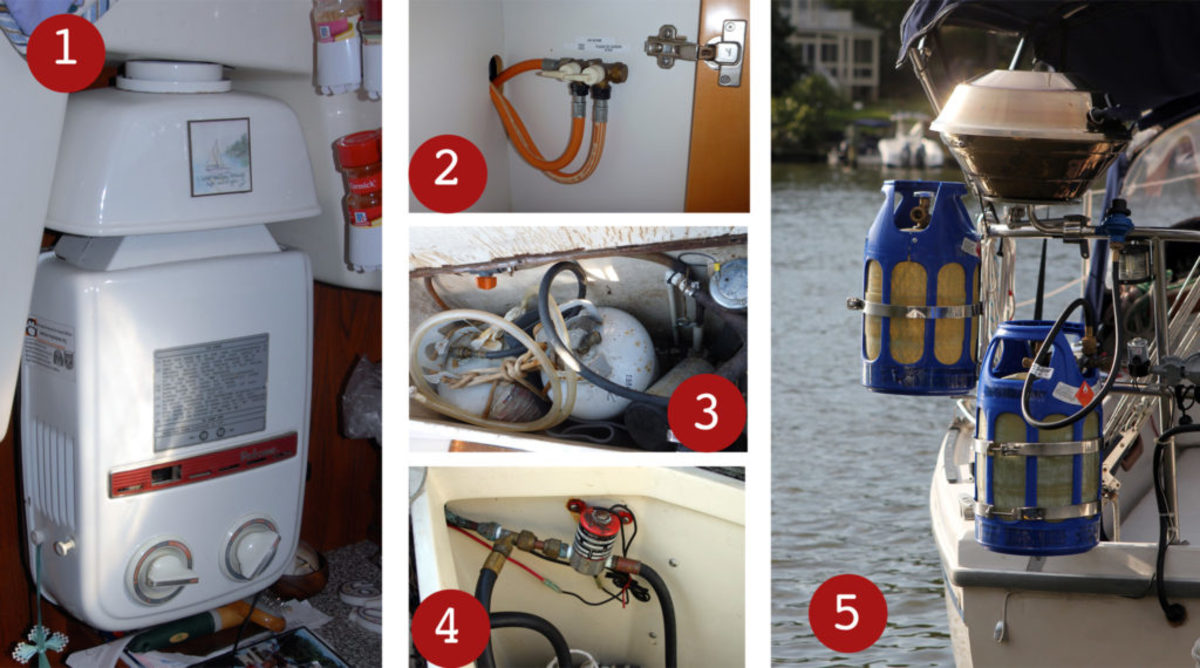 1. Propane-fueled appliances like this on-demand water heater must be approved for marine use. 2. connections inside the boat are common on European boats. 3. don't let your propane locker look like this. 4. It's not just propane hose connections you have to worry about; these wiring connections to the solenoid are all set up to fail. 5. Many cruisers prefer to hang their propane tanks off the sternrail; what such an installation lacks in aesthetics it makes up for in safety