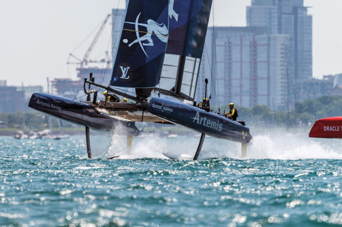 Sweden's Artemis Racing takes to the air during the regatta's blustery practice day