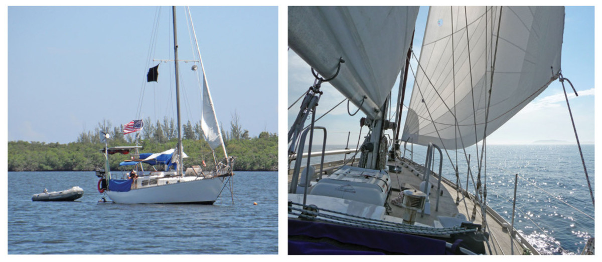 When furling your headsail in high winds, you may run out of furling line before you run out of sail (left). When close-hauled in light wind, don't strap your sails too tight (right).