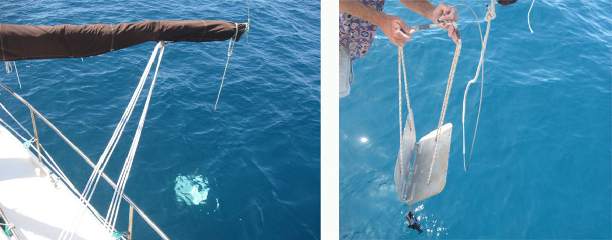 Getting ready to launch the flopper-stopper; note weight suspended below the two panels (left). When the stopper is in position and working, the boom is pulled out perpendicular to the boat's centerline with a preventer and an eased mainsheet (right).