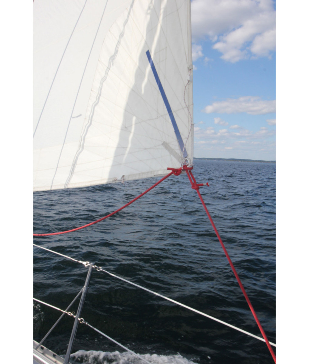 The stripe points the way to good sail trim