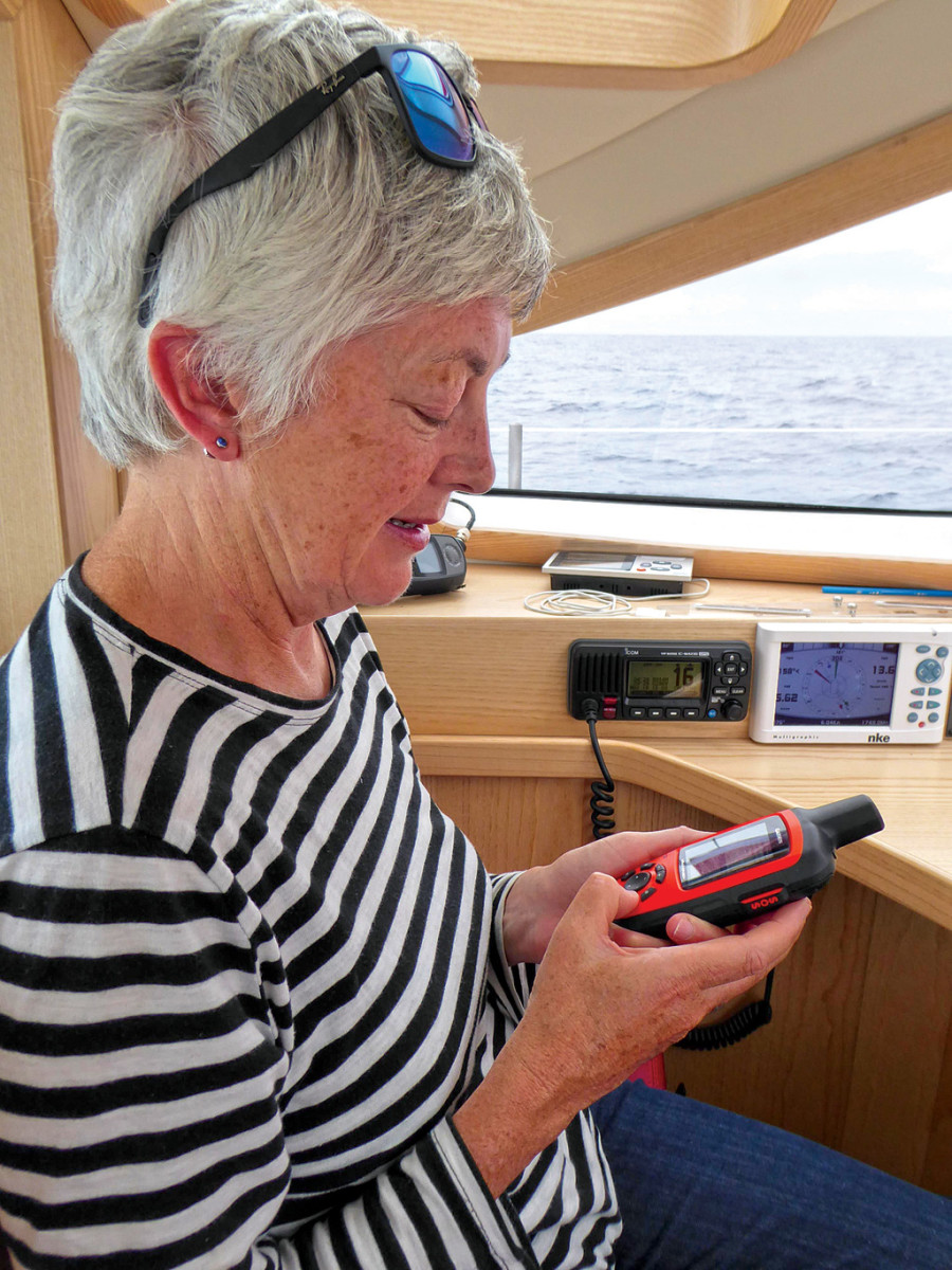 Clare sends a message to our daughter from the middle of the Atlantic Ocean on our new Garmin inReach Explorer. It's a great tool but it can be abused