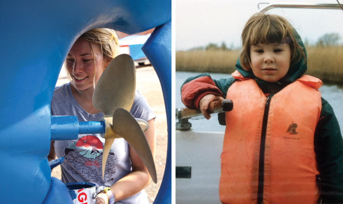Meticulous boat preparation is essential (left); A young Susie gets a feel for the tiller (right)