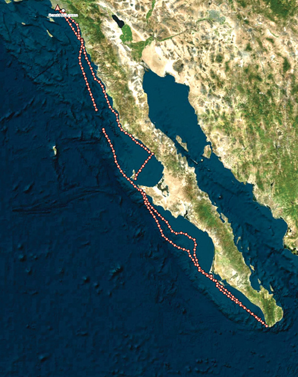 A Garmin/Delorme Inreach track shows the route from San Diego to Cabo San Lucas and back
