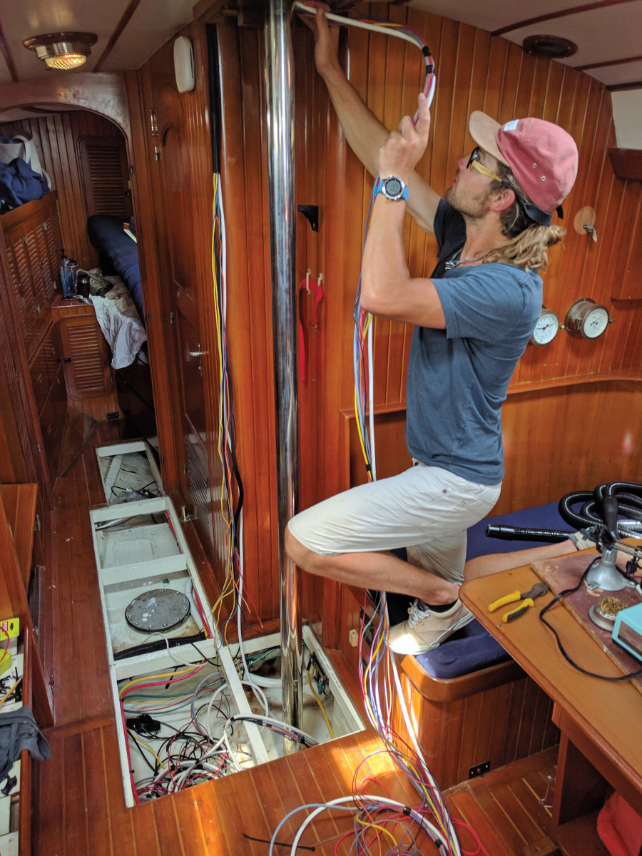 Much boat yoga is involved in running cables for electronics
