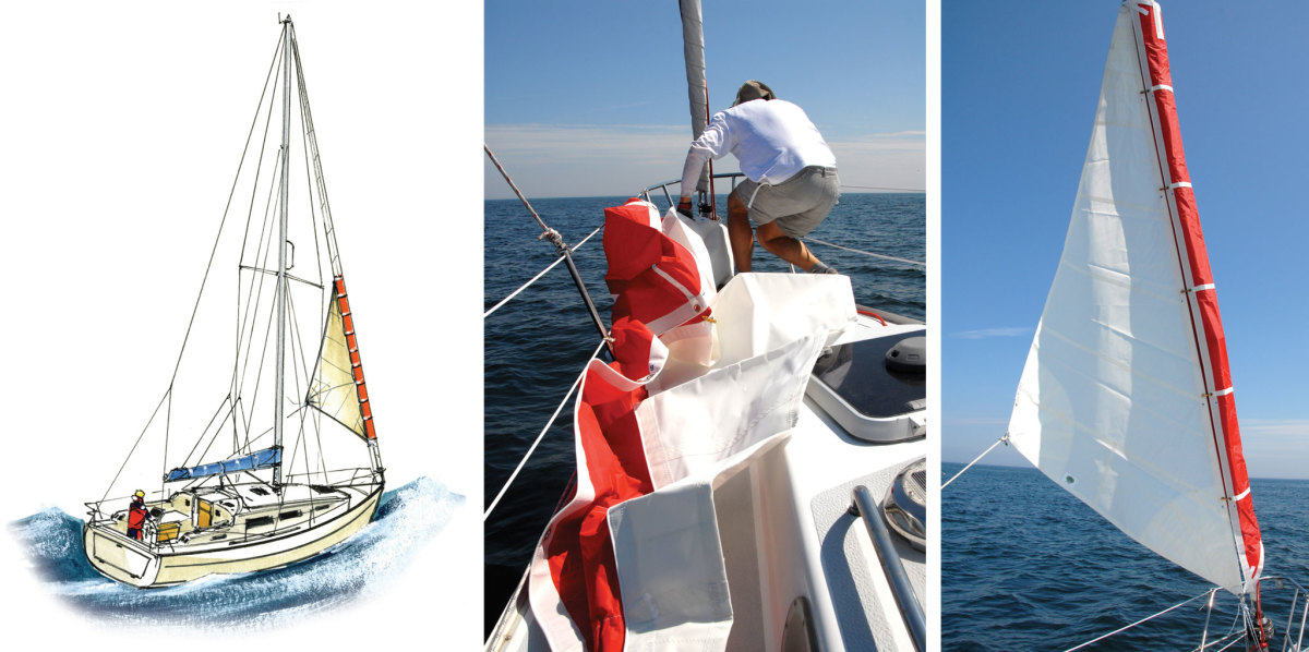 There is no cause for a coastal cruising boat to carry a trysail, but you may be glad of a storm jib (left); The Gale Sail from ATN is a storm jib that can be set over a furled headsail. It's best to bend it on before things get too rough (left) but flies well once hoisted (right)