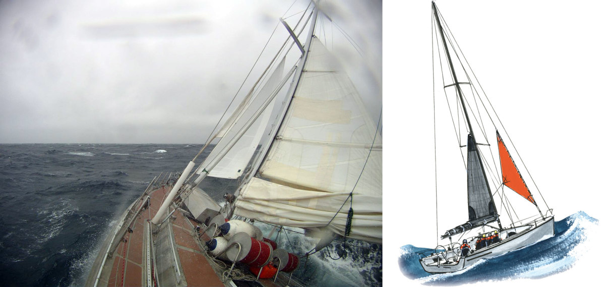The cutter Seal beats to windward under her heavy weather rig of storm jib and triple-reefed main (left); Many sailors rely on a combination of storm jib and a mainsail with three or four reefs in lieu of a trysail