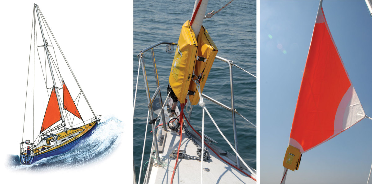 A cutter stay is ideal for setting a storm jib; in tandem with the trysail it concentrates the sailplan's center of effort amidships (left); The Storm Bag from Banner Bay Marine contains a two-ply storm jib that can be easily hoisted over a furled headsail