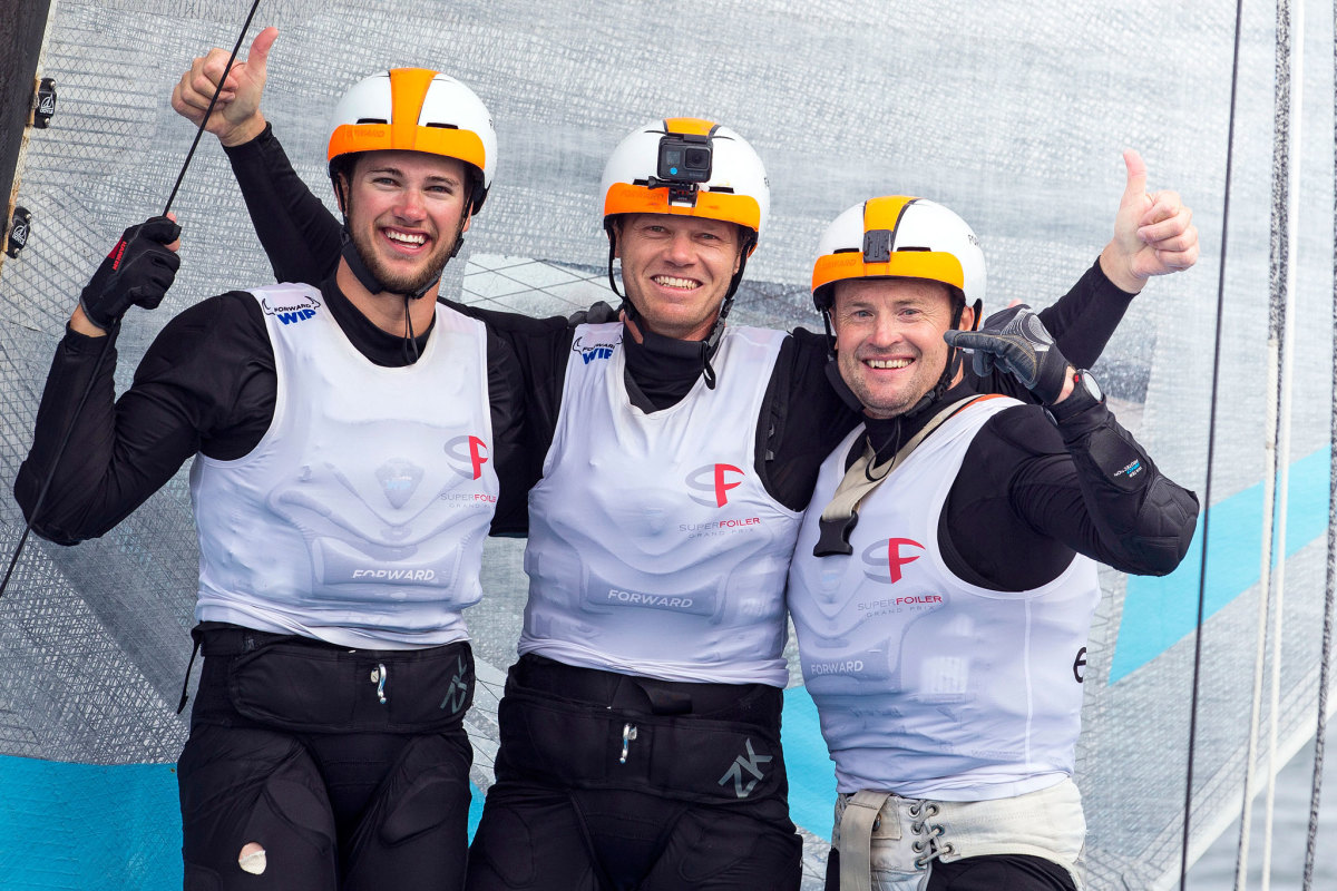 The class has drawn some of the hottest sailors on the planet, including America's Cup veterans Nathan Outteridge (center) and Glenn Ashby (right) shown here with their bowman Lachlan Gilmour in Sydney
