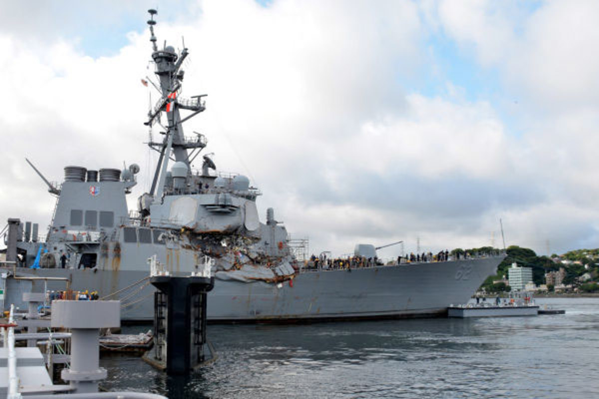 "The USS Fitzgerald collided with the Philippine container ship, MV ACX Crystal, on June 17, at 1:30 in the morning. The US Navy noted ""physical lookout duties"" were not performed in their incident report on the accident."