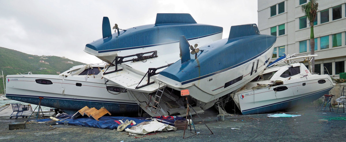 Irma's aftermath was still evident in the Moorings boatyard