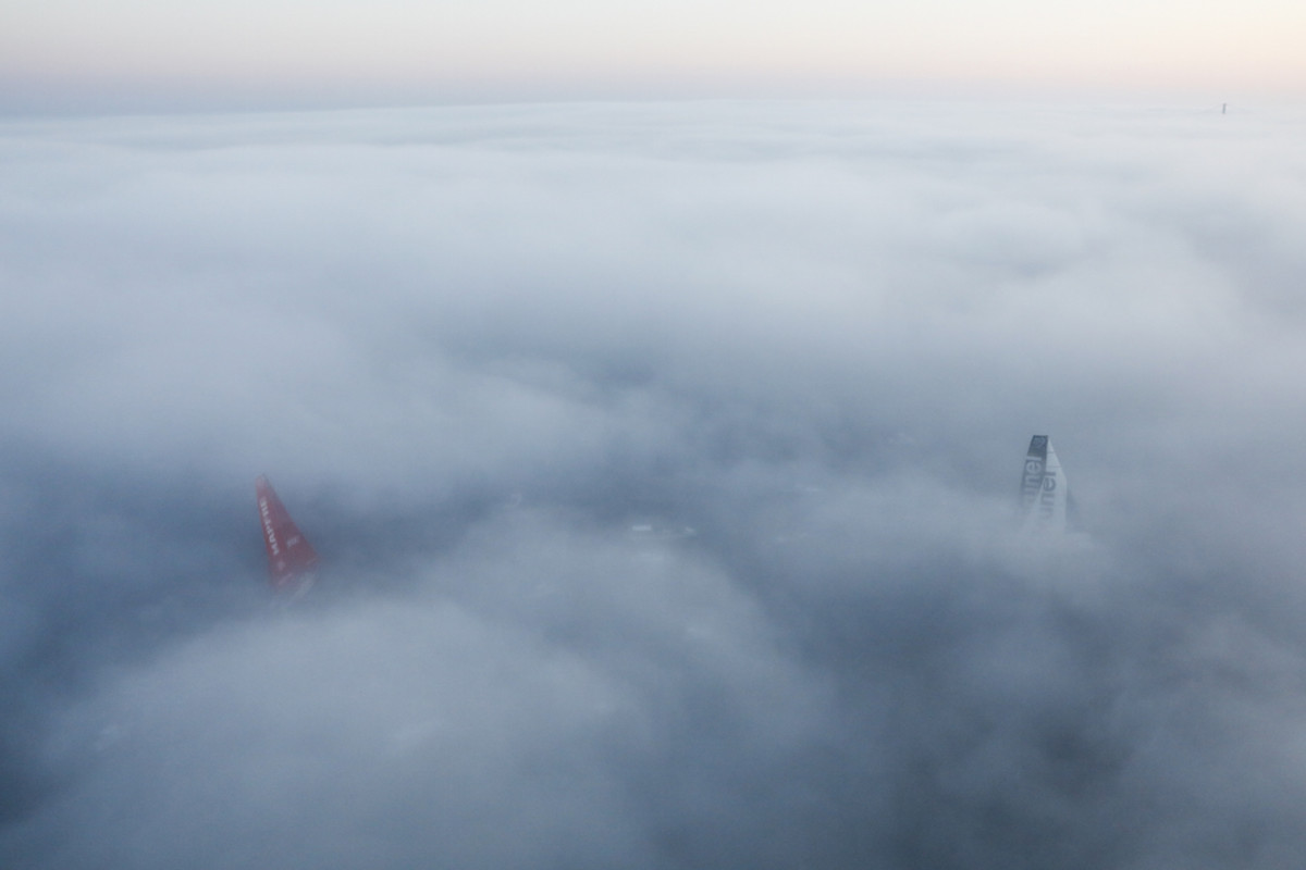 The fog of war: Team Brunel (at right) does everything it can to try and keep Mapfre at bay