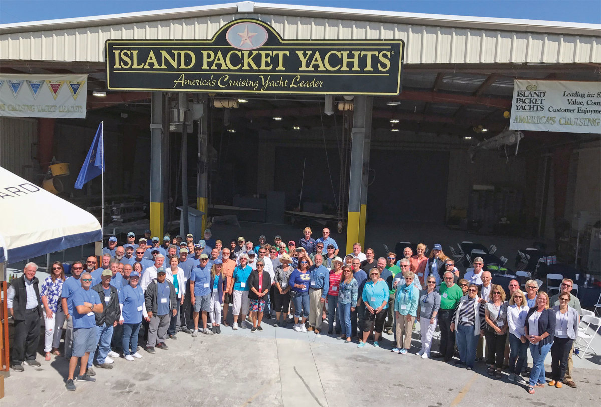 Island Packet owners gathered for a factory open house in March
