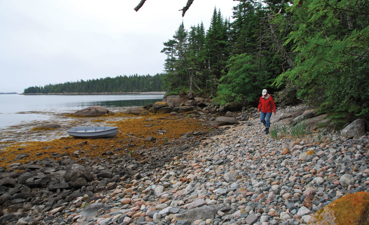 Leigh explores wild Blacks Island, next to Corner Pocket Cove, Maine