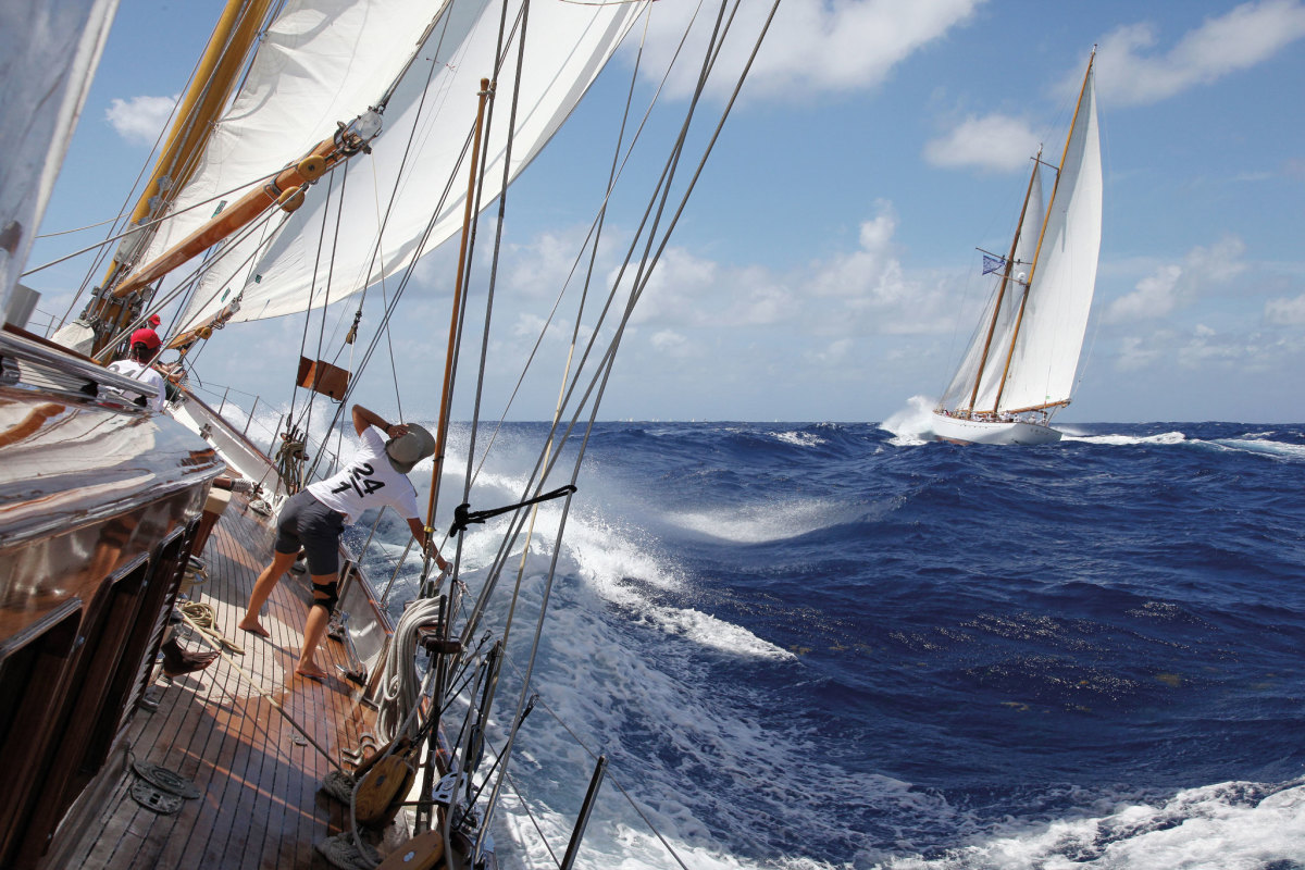 The Antigua Classic Yacht Regatta is as much a feast for the eyes as it is a competition: here Aschanti IV chases down her fellow schooner Eros