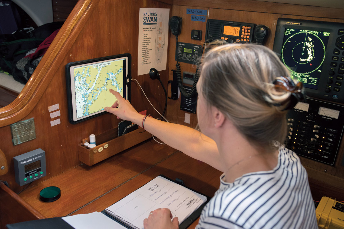 The iPad at the nav station can be taken on deck if necessary