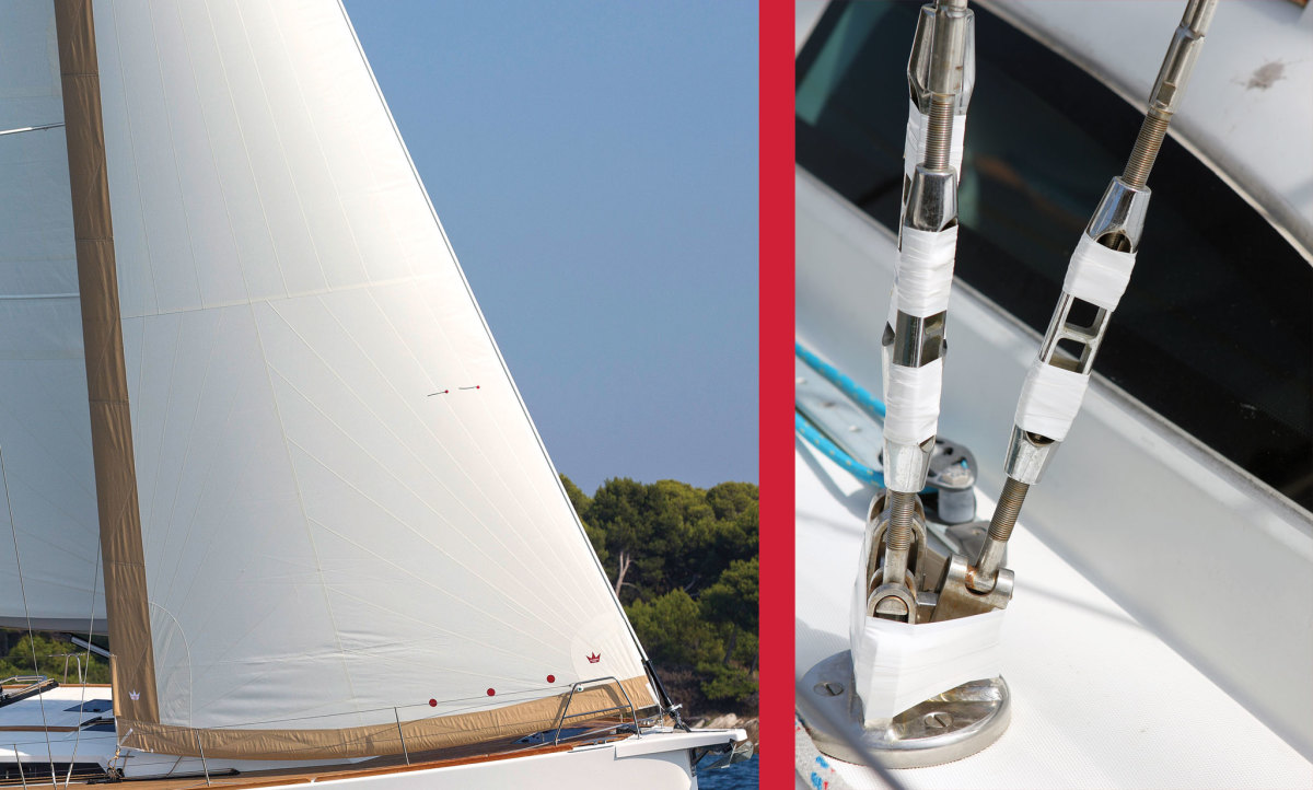 A protective UV cover, like the leech and luff canvas aboard this performance-cruiser, is a must (left);  Taping your turnbuckles removes another potential source of sail wear (right)