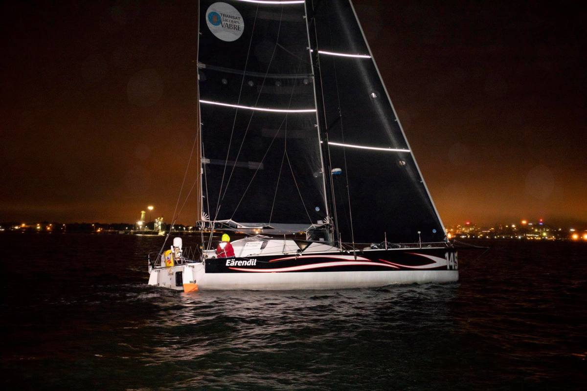 Eärendil crosses the Atlantic Cup Leg 2 finish line in Portland, Maine