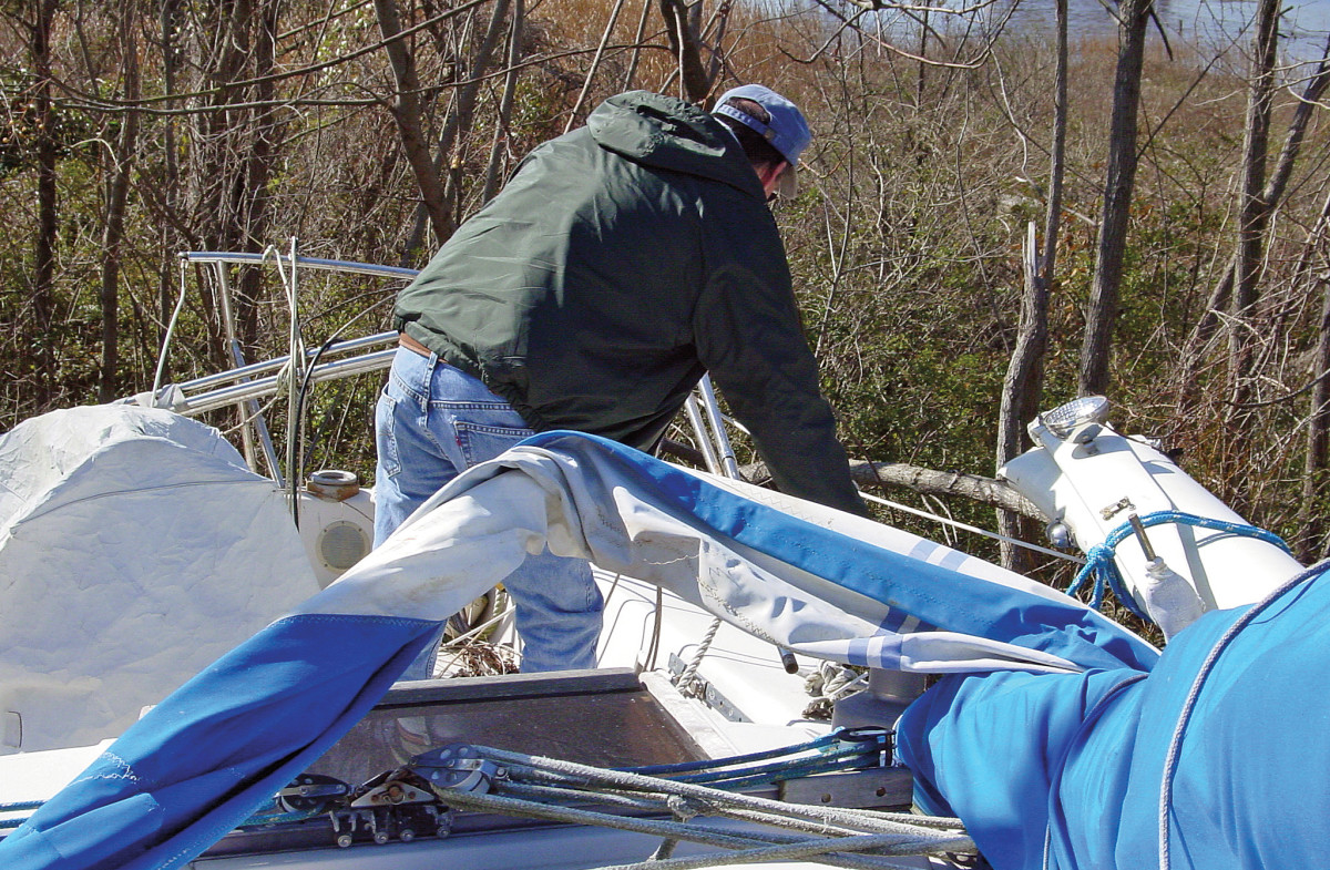 Beware of injury whenever you step aboard a hurricane-damaged boat