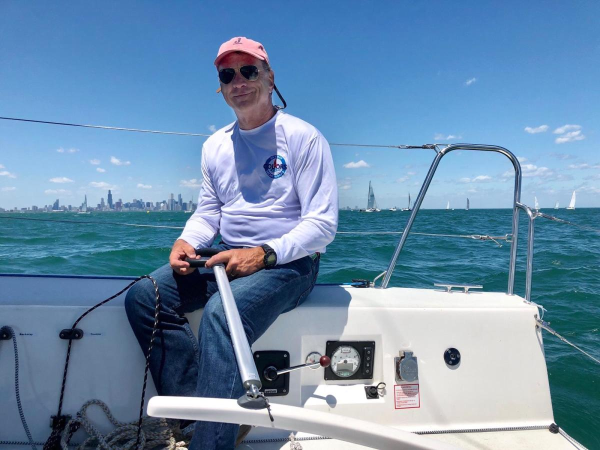 A veteran of dozens of Chicago-Mac and Port Huron-Mac races, Chicago-area sailor Rich Stearns is sailing solo this year to help raise funds for the treatment of prostate cancer