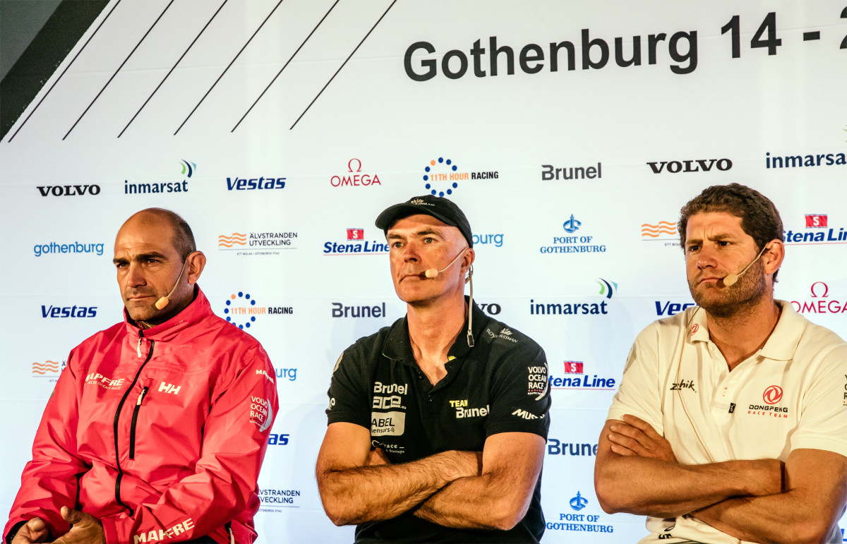 The three leading skippers (from left) Mapfre's Xabi Fernández, Team Brunel's Bouwe Bekking and Donfeng's Charles Caudrelier recently met with the press to talk about the challenges ahead