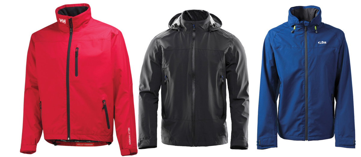 Light jackets, like these models from (from left) Helly Hansen, North Sails and, Gill would all work well sailing inshore
