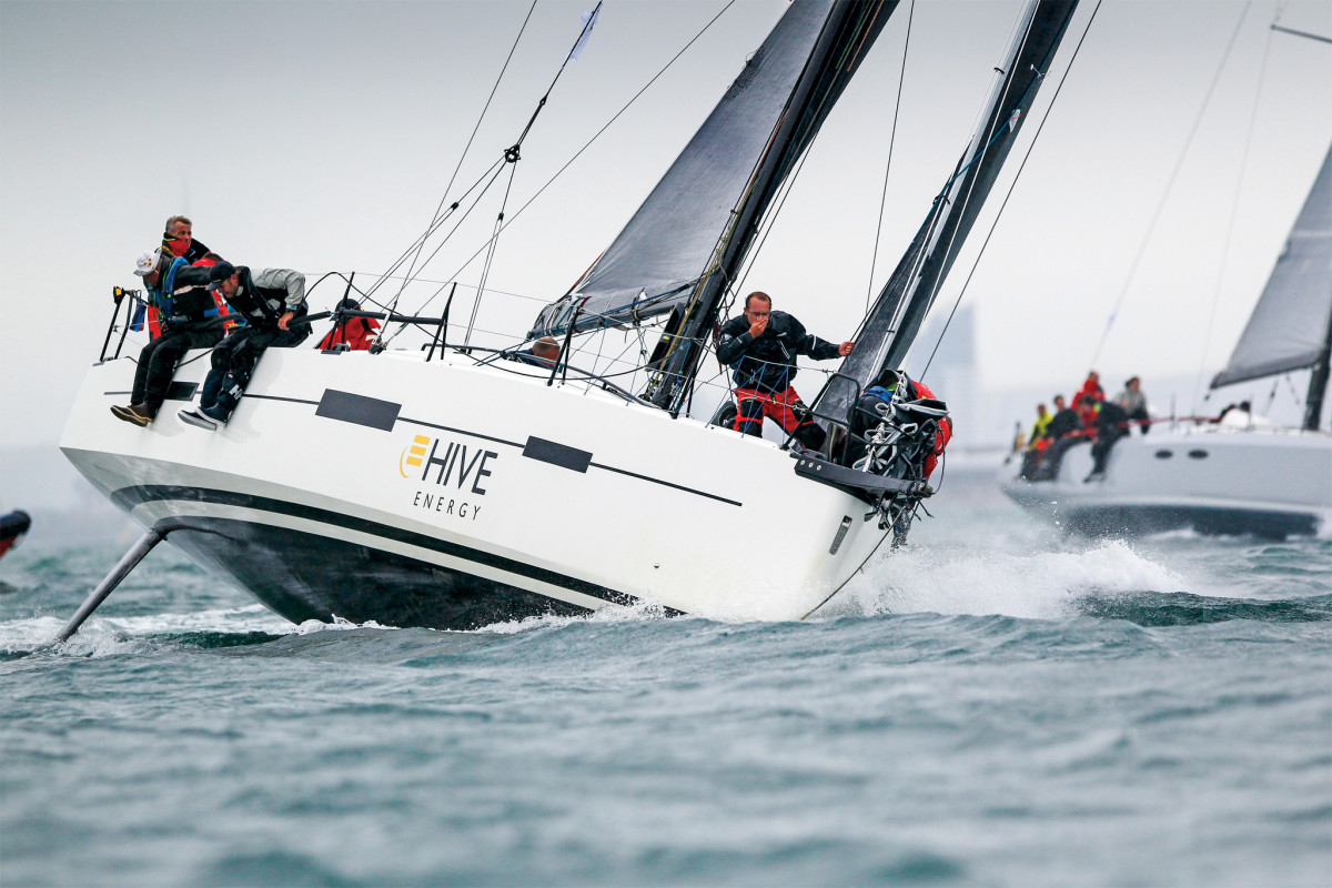Overall winner Pata Naga comes out swinging at the start of the race off Cowes, England