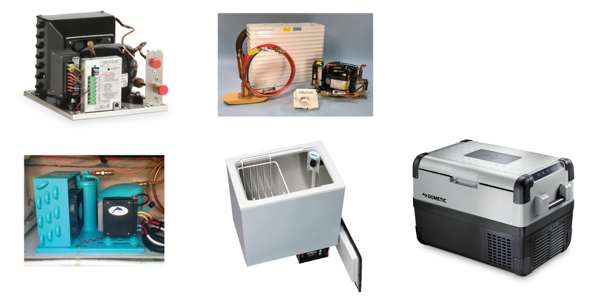 There are plenty of options for DIY fridge installers: (top left) a 12-volt cooler like this one from Dometic is a good choice for smaller boats; Technautics systems are popular (top right); high-end controls come with this Dometic unit (bottom left); a Frigoboat keel-cooler system (bottom middle); a drop-in box/compressor combo from Isotherm (bottom right)