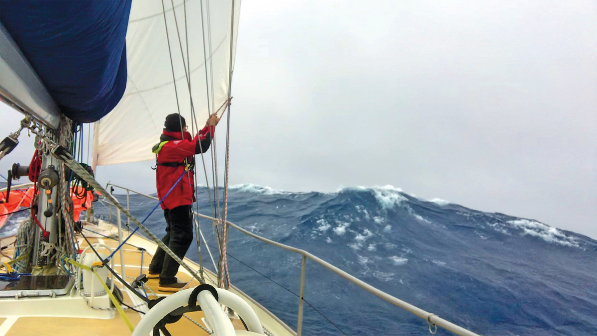 The author prepares his boat for a blow at 47 degrees south latitude