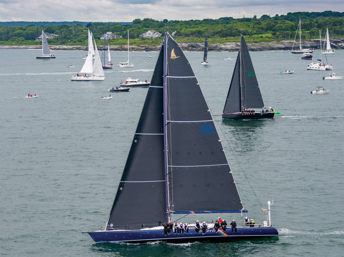 Merlin sails to windward shortly after the start of the 2018 Bermuda race