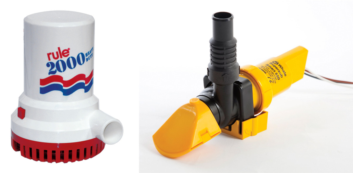 The Rule 2000 is an example of a typical small-boat bilge pump (left); Low-profile pumps like this one from Whale work well in tight spaces Right)
